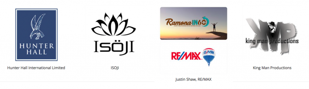 Logos of Hunter Hall International Limited, ISOJI, Justin Shaw, RE/MAX, King Man Productions,