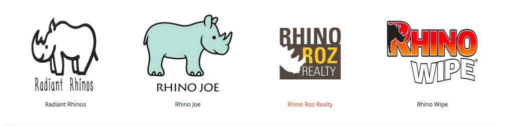 Corporate logos of Radiant Rhinos, Rhino Joe, Rhino Roz Realty, Rhino Wipe,