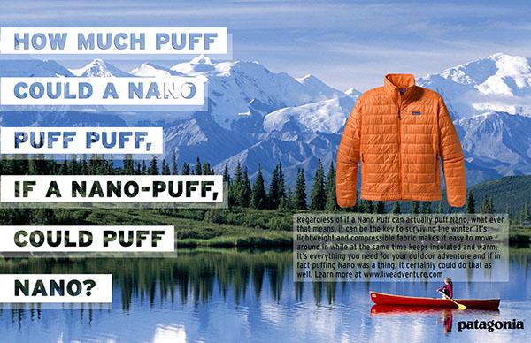 Patagonia ad for jacket with canoe on lake and orange jacket
