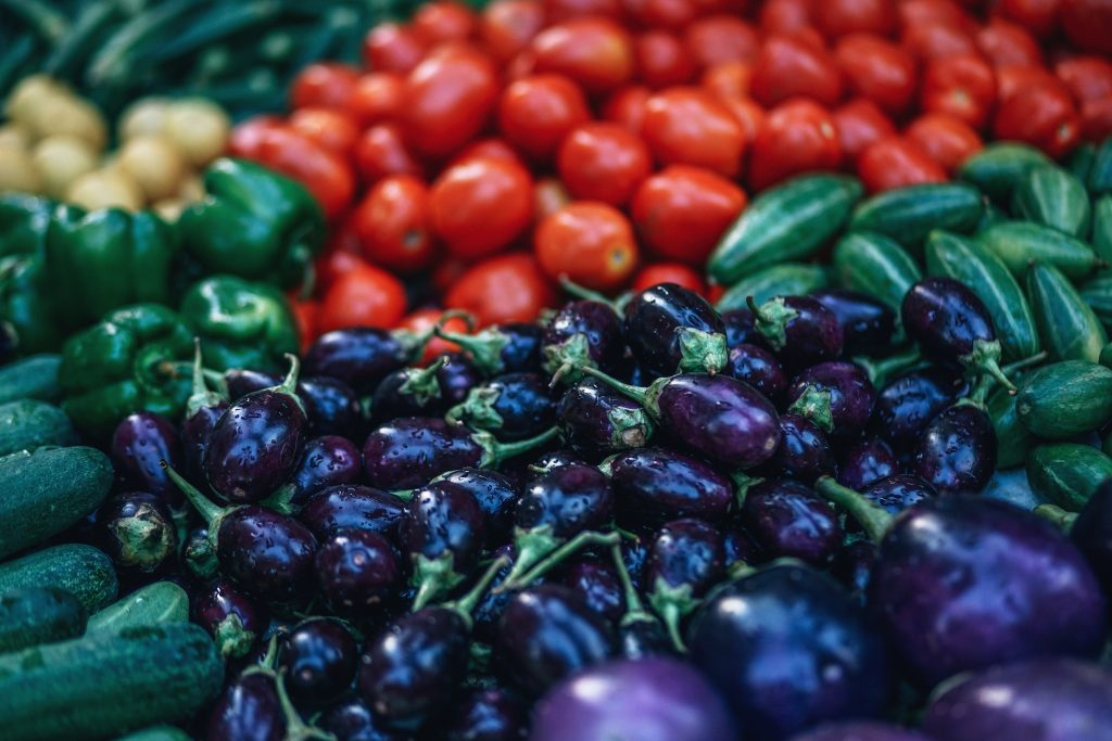 fruits and vegetables in market