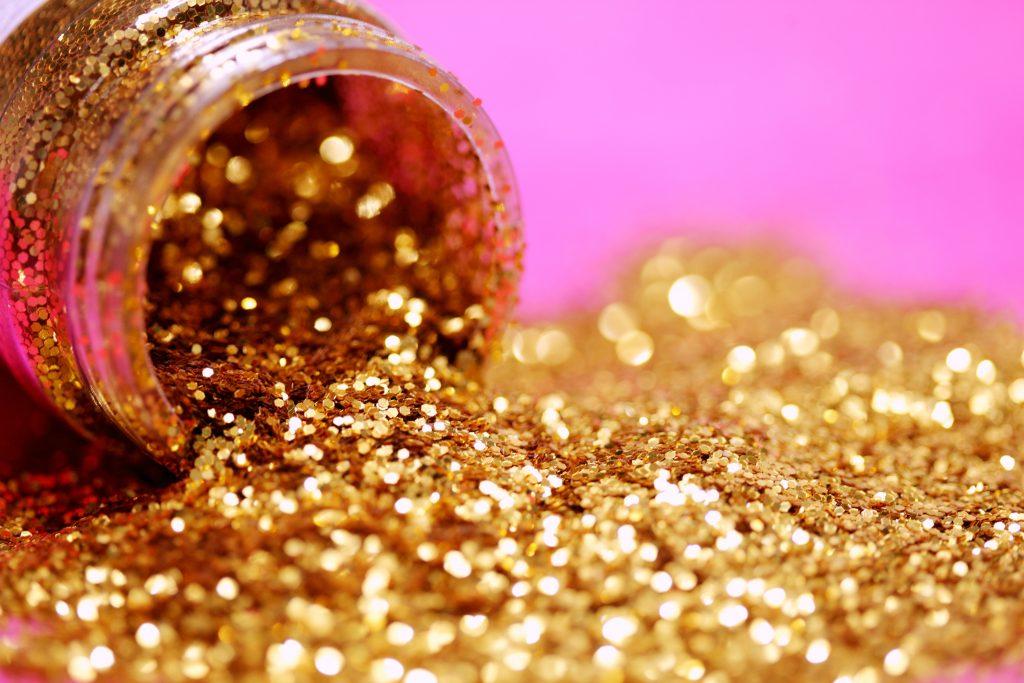 Golden glitter bottle